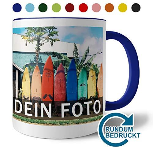 Panoramatasse mit persönlichem Foto zum selbst gestalten (hochwertige Kaffeetasse, Farbiger Henkel und Trinkrand, mit personalisierbarem Foto im Panoramaformat, spülmaschinenfest), dunkelblau