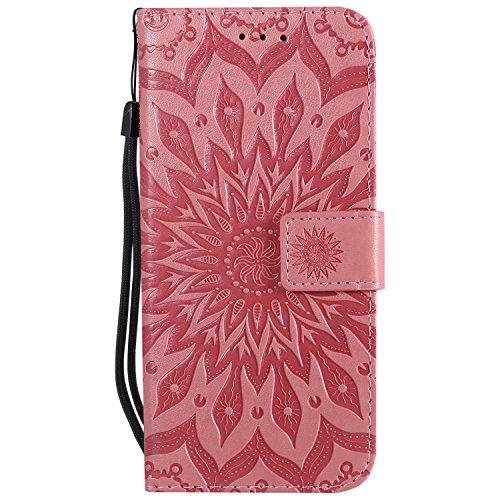 Ysimee Coque Compatible avec LG G7 ThinQ Fleur Portefeuille en Cuir Etui de Protection avec Fentes de Cartes Fermeture Magnétique Fonction Stand Case Couverture à Rabat Housse,Rose