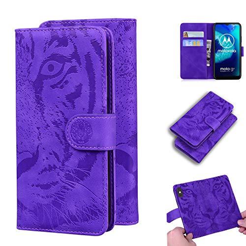 Hülle für Moto G8 Power Lite Hülle Handyhülle [Standfunktion] [Kartenfach] Schutzhülle lederhülle klapphülle für Motorola Moto G8 Power Lite - DETX010594 Violett