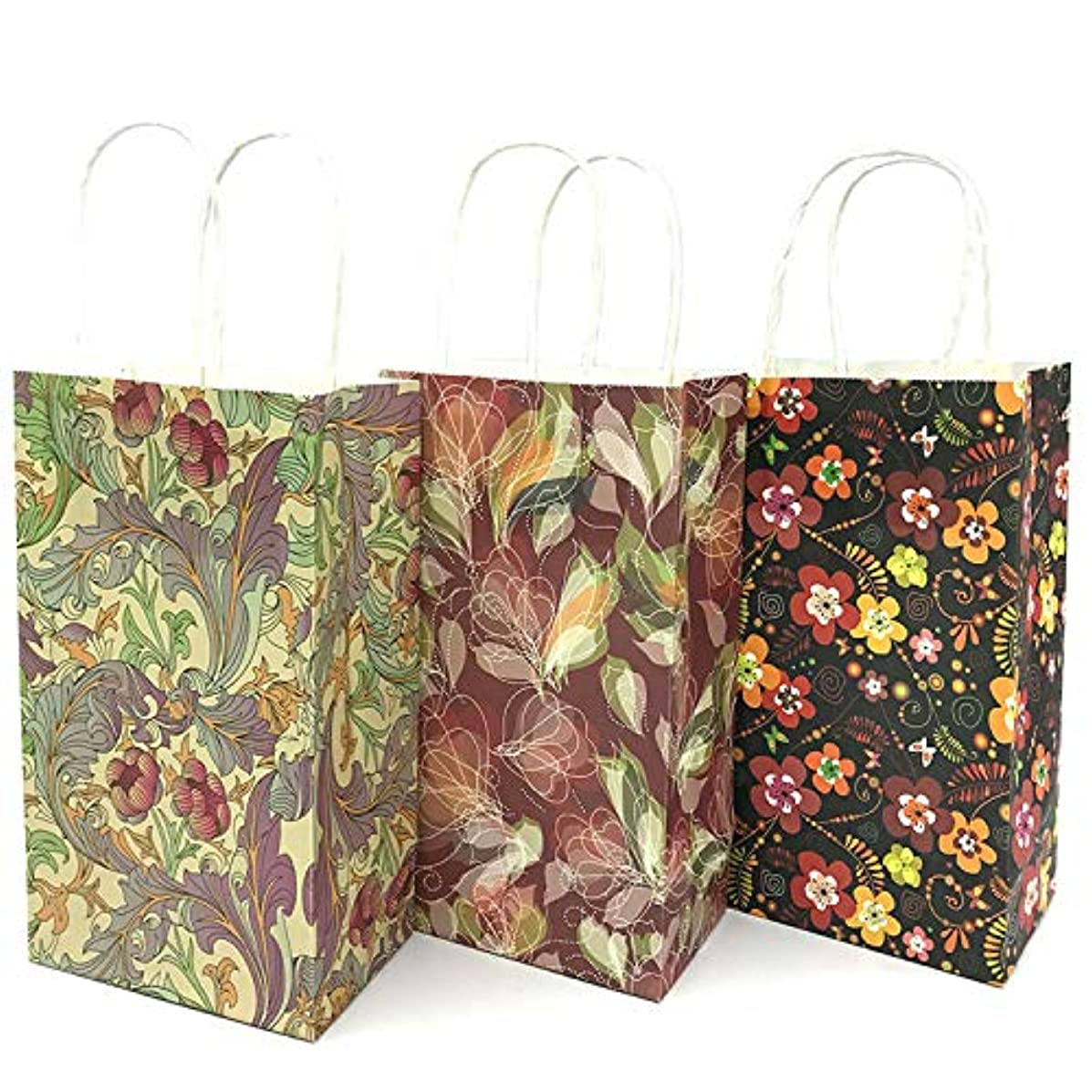 ETUCK 18 Pieces Flower Paper Party Bags Birthday Gift Packs Kraft Party Favors Bag Tea Party Wedding Bag with Handle, 3 Style and Colors (C)