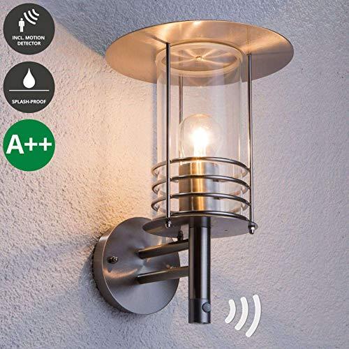 Lindby Wandleuchte außen 'Miko' mit Bewegungsmelder (spritzwassergeschützt) (Modern) in Alu (1 flammig, E27, A++) - Außenlampe, Wandlampe für Outdoor & Garten Außenwand/Hauswand, Haus