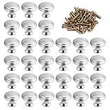 ManLee 30 Piezas Perillas de Gabinete 30mm Pomos de Acero Inoxidable Puertas Redonda con Tornillos Perillas Manijas Tiradores de Muebles para Armario Cajón Aparador Cocina