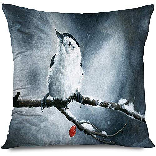 Aoyutiy Decoratieve kussensloop Vrolijk Kerstmis traditioneel schilderij Mooie whitebreasted jurk dieren Wildlife natuur rest met ritssluiting kussensloop