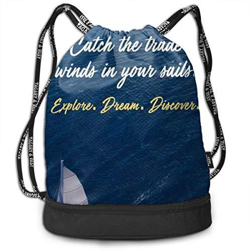 PmseK Turnbeutel,Kordelzug Rucksack Explore Quote Print Drawstring Backpack Bag Outdoor Bundle Backpack Gym Sackpack Travel Sport Yoga Gym Cinch Bag Laptop Sack Bag Beach Rucksack for Women & Men