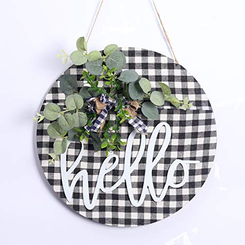 RoseCraft Welcome Sign, 12Inch Wreath for Front door/wall/porch/window/farmhouse/Home Decor, Suitable for Outdoor/Indoor, Holiday, Xmas, and All Season.( Black/White)