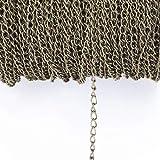 HanPaint 2,5/3,5/4,5 mm Cadenas Collar 2M / Paquete de rodio/Plata/Oro del KC/gunblack/de Bronce Antiguo Plano del Color de la Cadena para la joyería de Bricolaje Antique Bronze 2.5MM