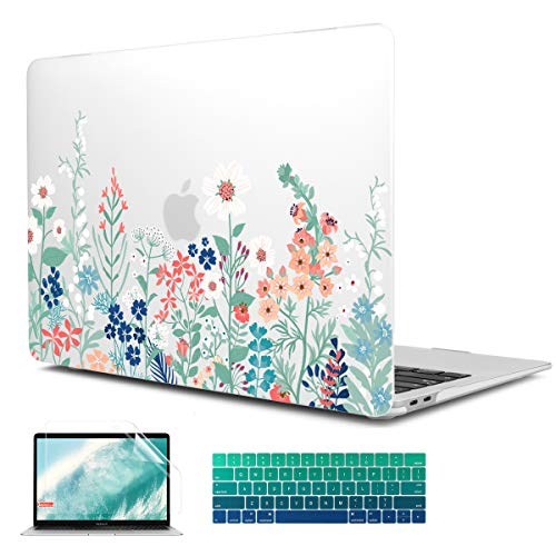 CiSoo Matte Frosted Hard Case Shell Cover for New MacBook Pro 13 Inch 2016-2019 Release Model A1706 A1989 A2159 with Touch Bar,Plastic Flower Pattern Hard Case with Keyboard Cover&Screen Protector