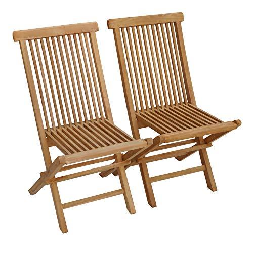 BENEFFITO SALENTO - Conjunto de 2 sillas de jardín Plegables en Teca Natural para Exterior