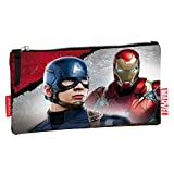 Marvel Cartuchera Civil War Justicia Capitán América y Iron Man (Rojo)