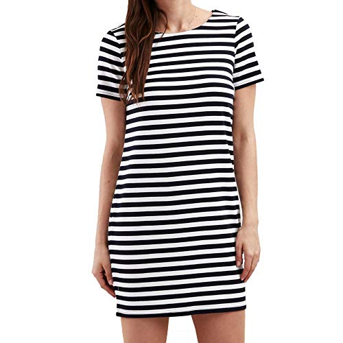 Vila Clothes Damen VITINNY New S/S Dress-NOOS Kleid, Weiß (Snow White Stripes: Total Eclipse), L