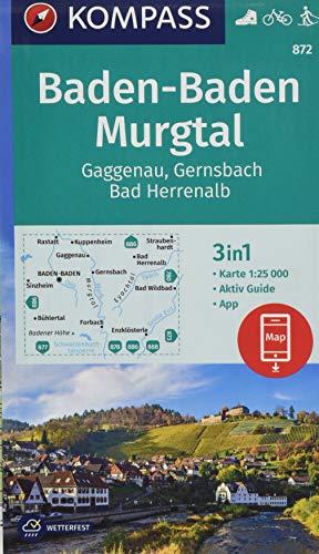 KOMPASS Wanderkarte Baden-Baden, Murgtal, Gaggenau, Gernsbach, Bad Herrenalb: 3in1 Wanderkarte 1:25000 mit Aktiv Guide inklusive Karte zur offline ... Langlaufen. (KOMPASS-Wanderkarten, Band 872)