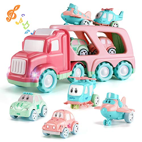 TEMI Cartoon Vehicles Playset Transport Car Carrier Truck - 5 in 1 Push and Go Trailer W/ Sounds & Lights, 4 Macaron Friction Power Car/Airplane/Helicopter