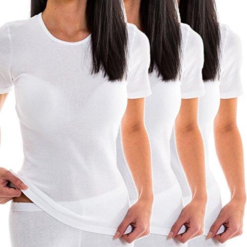 HERMKO 1800 Kit de 3 Camisetas Interiores Manga Corta para Mujer, 100% algodón