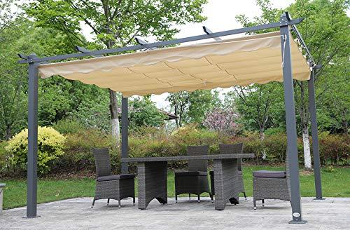 *Angel Living® 3X4M Pavilion Terssendacht Anthracite aus Aluminium und Polyester Verstellbares Dach*