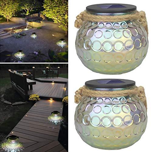 Solarleuchte Glas, 2PCS Solar Laterne Glas Wasserdichte Hängeleuchte Solarleuchten Glas LED Tischleuchte Solar Einmachglas Jar Licht Solar Kugel Laterne, Solarglas Ball Lichter Für Innen und Außen