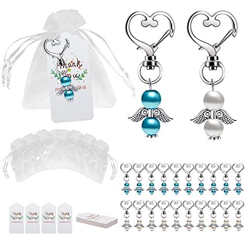Punvot Bomboniere Comunione, 24 pezzi angelo custode portachiavi + sacchetto in organza + carta kraft angelo custode regalo per matrimonio battesimo ragazza compleanno festa