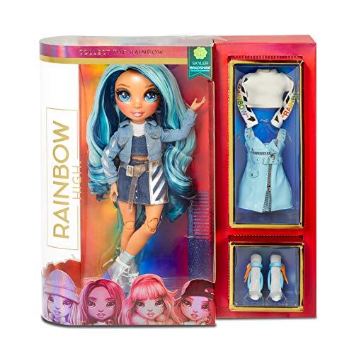 Lalka modowa Rainbow High - Skyler Bradshaw - Niebieska lalka z wyjatkowymi strojami, akcesoriami i stojakiem na lalke - Rainbow High Seria 1 - Idealny prezent dla dziewczynek w wieku 6+