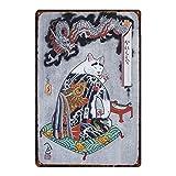 Lorenzo Samurai Cat Vintage Metall Eisen Malerei Plaque