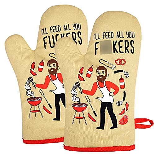 Miracu Oven Mitt, Funny Cooking BBQ Oven Mitts for Men - Housewarming Gift, Birthday Grilling Gifts for Dad, Men, Chef, Husband, Boyfriend, Son, Friends, Brother, Him - I'll Feed All You, Set of 2