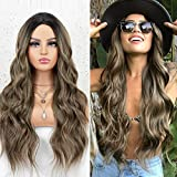 K'ryssma Ombre Brown Wig with Dark Roots Middle Parting Wavy Long Synthetic Wig Full Machine Made 22 inch