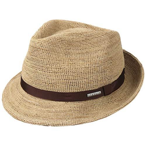 Stetson Alpena Player Crochet Raffiahut Damen/Herren - Sonnenhut - Strandhut aus Stroh (Raffiastroh) - Fedora mit Ripsband - Porkpie Frühjahr/Sommer Natur L (58-59 cm)