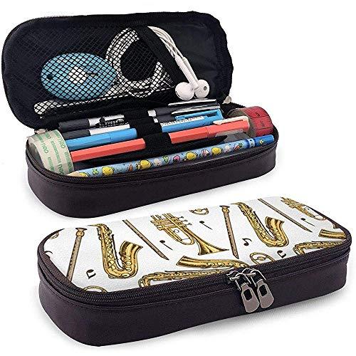 Blasinstrumente und Noten Leder niedlich Federmäppchen - Bleistiftbeutel Schreibwaren Veranstalter Make-up Tasche, perfekte Halterung