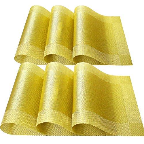 HOLLIHI Lot de 6 sets de table de cuisine en PVC - Tendance - Rectangulaire - Lavable - Décor jacquard tissé - Style simple - Doré