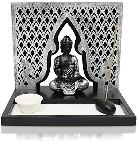 Zen Garden Candle Holder Home Decor - Buddha Incense Stick Holder Office Desk Accessories - Zen Garden Sand Office Decor - Buddha Statue Table Top - 12' x 12'