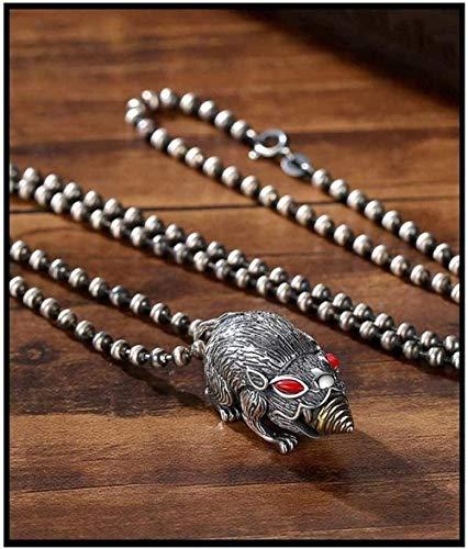 NC110 Collar con Colgante de Rata Tubao S925 Plata de Ley Hombres y Mujeres Regalos de la Suerte Joyería Cadena de suéter + YUAHJIGE