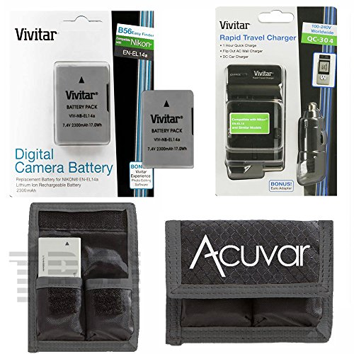 2 EN-EL14A EN-EL14 Replacement Li-ion Battery, 2300Mah, Car/Home Charger and Acuvar Battery Pouch for Nikon