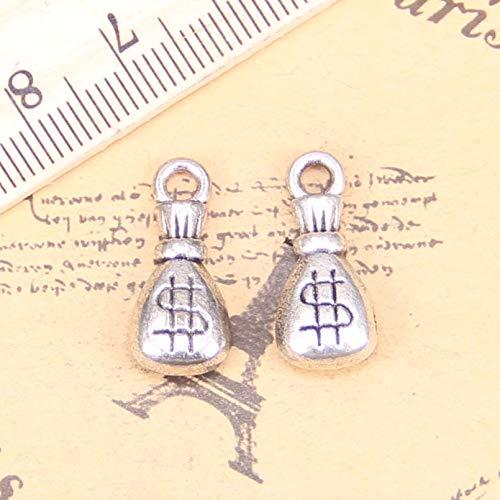 LKJHG 16pcs encantos Billetera dólar Dinero 20x9x5mm Colgantes Antiguos, joyería de Plata...