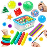 ZaxiDeel Sensory Toys for Autistic Children and Adults, 23 Pack Fidget Toys - Pop Tubes, Bean Bags, Giant Stress Ball, Squeeze Ball, Spiky Sensory Balls and Stretchy Strings Set