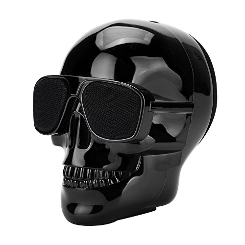 GorNorriss Electronics Gadgets Plating Skull Protable Wireless Bluetooth Stereo Speaker with HD Sound and Bass (Black)