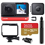 Insta360 ONE R Twin Edition Dual Lens 360 + 4K Wide-Angle Mods, Waterproof Sports and Action Camera Bundle with Invisible Selfie Stick, 32GB microSD Card, Card Reader