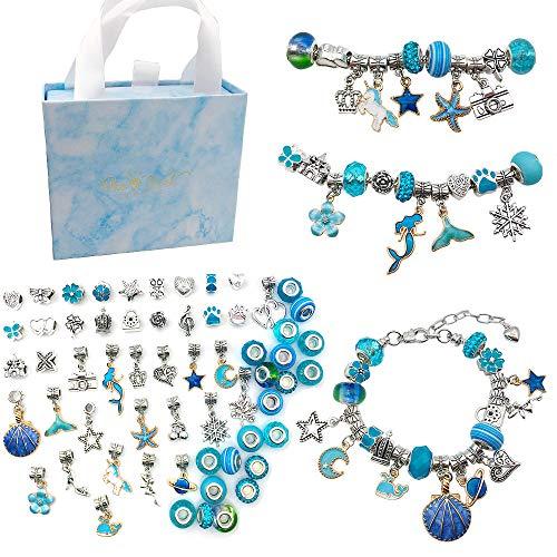 Queta Kit para Hacer Pulseras Kit de fabricación de joyas para niña, Pulsera de Plata Accessories de Joyería con Cuentas para Pulseras Regalo de Manualidad de bricoraje para Niñas Cumpleaños