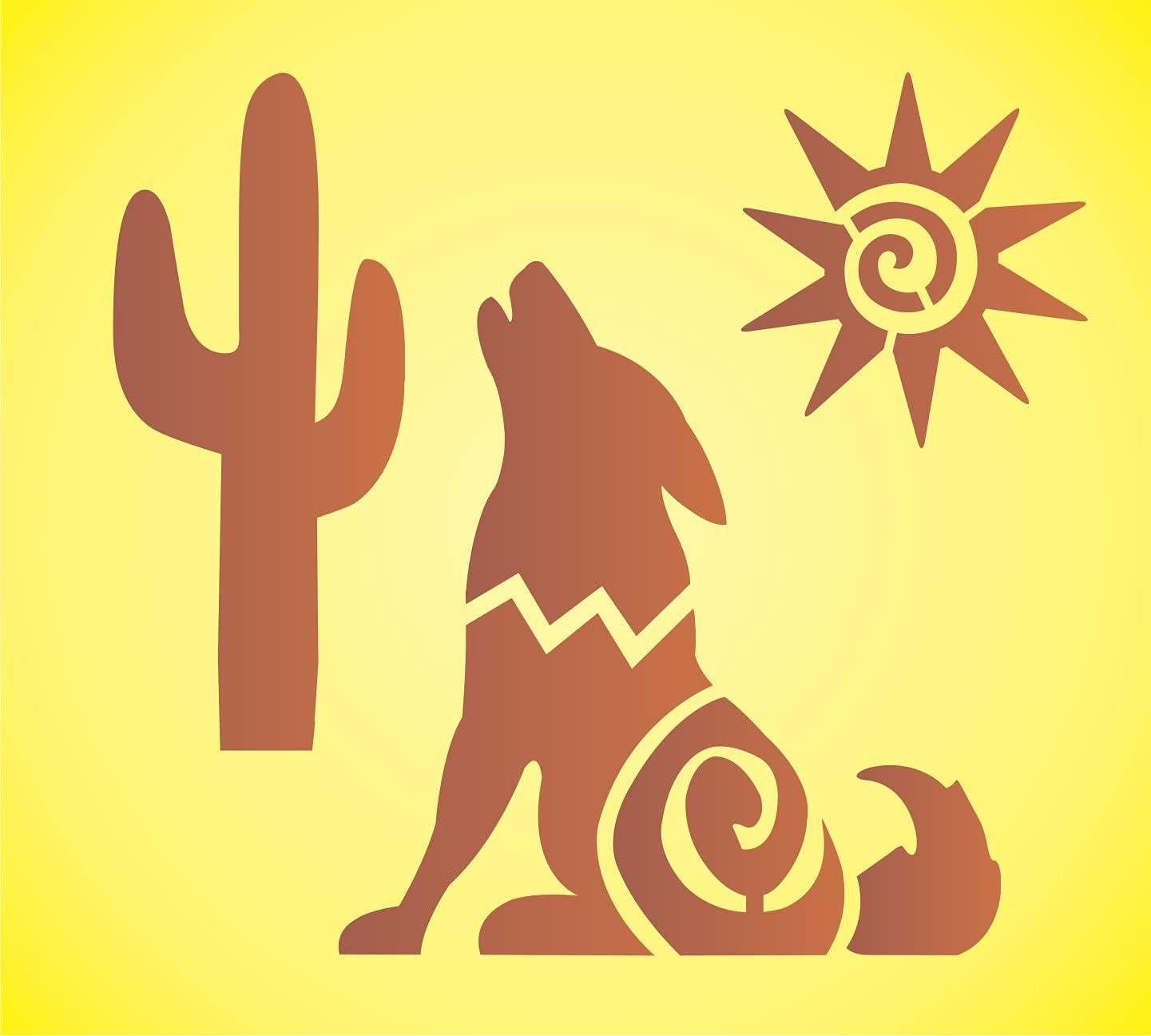 Howling Wolf Stencil Southwest Desert Cactus Kokopelli Sun Aztec Southwest Garden DIY Signs (6