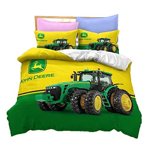UNILIFE 3D Traktor Bettwäsche John Deere Bettbezug mit Kissenbezug 3 Stück Bedrucktes gebürstetes Bettbezug Set BettwäscheSet mit Reißverschluss