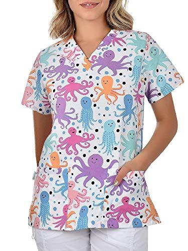 B-well Bambina - Casaca de mujer de manga corta con cuello en V, para enfermeras, dentistas, médicos, estudiantes y veterinarios Kraken M