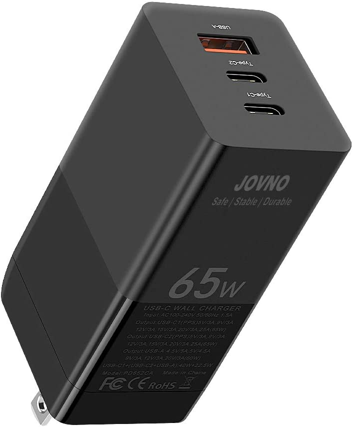 USB C Charger, JOVNO 65W Fast Charger PD Charger GaN 3-Port Foldable Wall Charger, Adapter for iPhone 12/11/XR/Xs, MacBook Pro/Air, iPad Pro/Air, Galaxy S20/S10, Dell XPS 13, Pixel, OnePlus, Switch