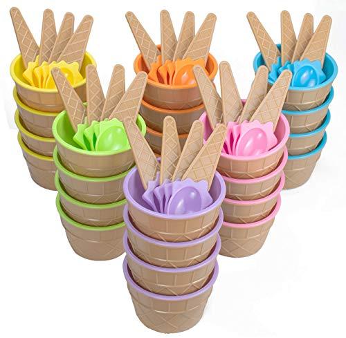 Lawei 24 Pack Ice Cream Cups with Spoons - Reusable Plastic ice cream bowls Sundae Frozen Yogurt