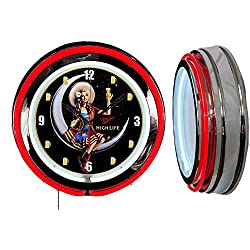 Checkingtime LLC 19 Miller High Life Beer Girl Clock, Red Outside Tube, Two Neon Tubes