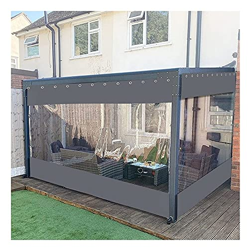 XJJUN Outdoor Transparent Tarpaulin, Weather Resistant Tear Resistance UV Resistant Partition Curtain With Grommet, For Garden Terrace (Color : Gray, Size : 2x2.5m)