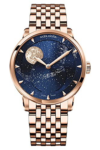 Agelocer Reloj de los hombres Top Marca Azul Luna Fase Mecánica Masculina Moda Lujo Muñeca Acero Inoxidable Pulsera (NK_6404D9)