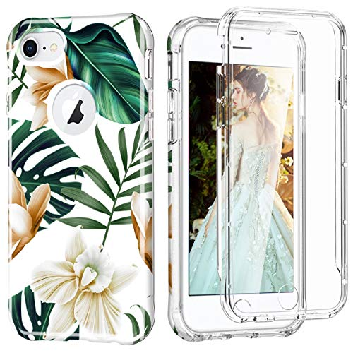 CoverPhone Funda Uso Rudo Plantas Compatible con iPhone, Case 2 en 1 con Mica Integrada, 360 Grados Decorativa Carcasa Completa,...