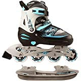 Nijdam 2in1 Semi Softboot Kinder Inline Skates Rollschuhe Schlittschuhe, Mehrfarbig (schwarz/silber/blau), 27-30
