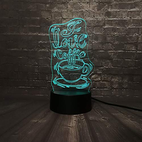 beiping 3D Illusion Coffee Shop Decoration Night Light 16 Color Change Smart Touch Desk Decoration Lamps Best Birthday Gift