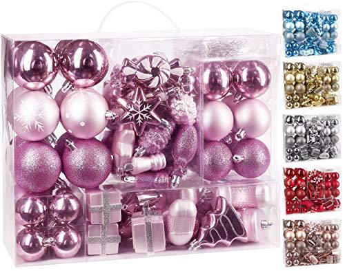 Brubaker 77-Pezzo Set di Palle di Natale - Decorazioni per L'Albero di Natale - Rosa/Argento