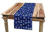 ABAKUHAUS Faro Camino de Mesa, Siluetas marítima, Decorativo para el Comedor o Sala de Estar Fácil de Limpiar, 40 x 180 cm, Violeta Azul Blanco