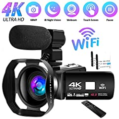 Camcorder 4K Video Camera 48MP 18X Video Camera WiFi Vlogging Camera IR Night Vision Full HD Camcorder met draadloze 360° afstandsbediening*