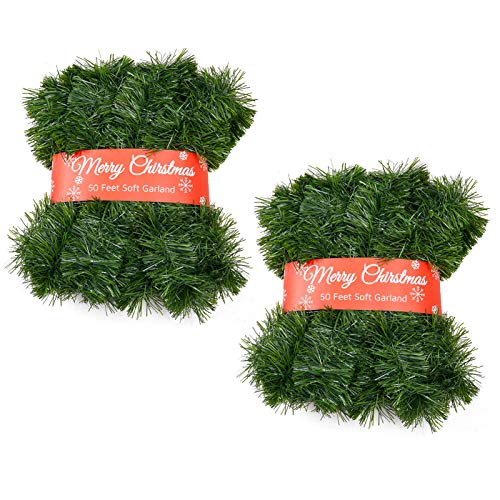 Christmas Garland for Outdoor/Indoor Decoration, Soft Greenery Artificial Garland Decorations, Non-lit Green Xmas Garlands Perfect for Party Home Garden and Holiday Festival Decor, 50 Feet 2 Pack